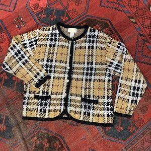 Vintage plaid button front cardigan sweater large